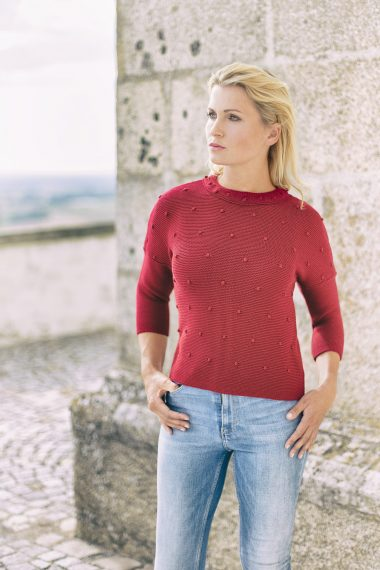 Schöner Pullover mit Noppenmuster und Dreiviertelärmel bei Huber Mode & Tracht